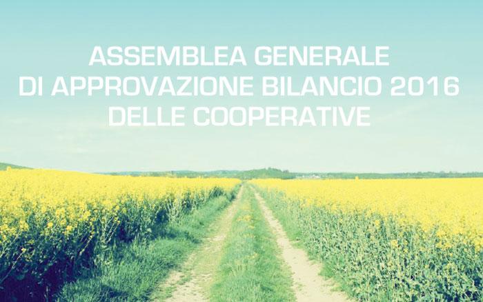 Assemblea generale di approvazione bilancio 2016 delle cooperative